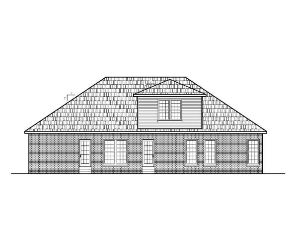 Ranch House Plan 54454 with 3 Beds, 3 Baths, 2 Car Garage Rear Elevation