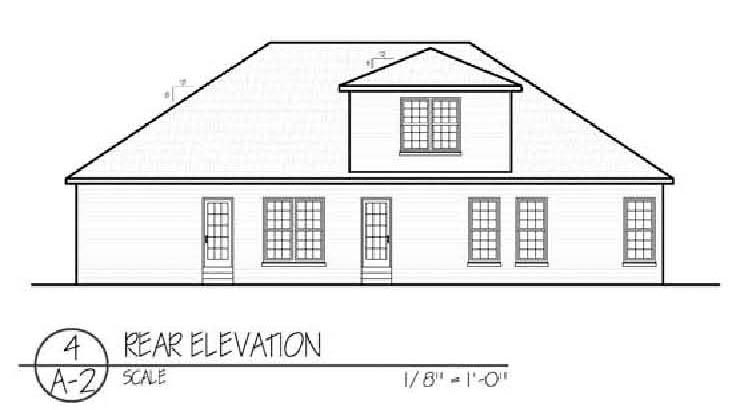 Ranch House Plan 54455 with 3 Beds, 3 Baths, 2 Car Garage Rear Elevation