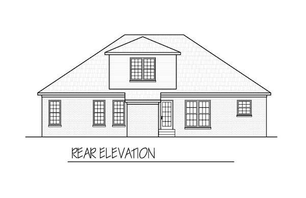 Ranch House Plan 54463 with 3 Beds, 3 Baths, 2 Car Garage Rear Elevation