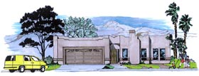 Santa Fe , Southwest House Plan 54604 with 3 Beds, 2 Baths, 2 Car Garage Elevation