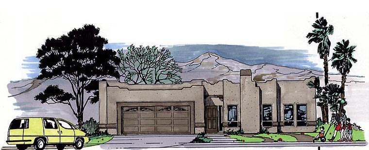 Santa Fe, Southwest House Plan 54604 with 3 Beds, 2 Baths, 2 Car Garage Elevation