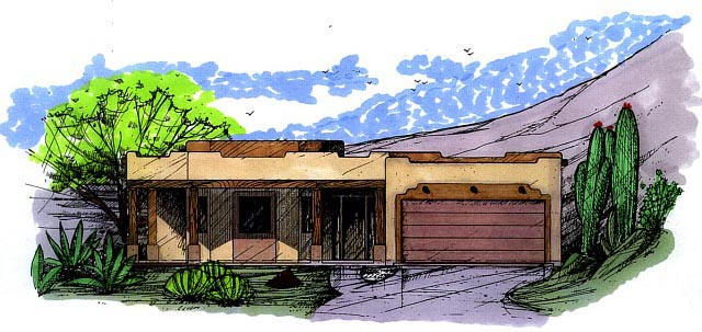 Santa Fe Southwest House Plan 54607 Elevation