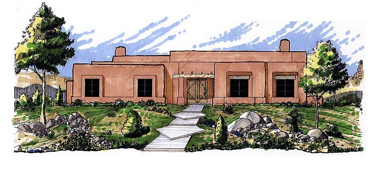 Santa Fe Southwest House Plan 54611 Elevation