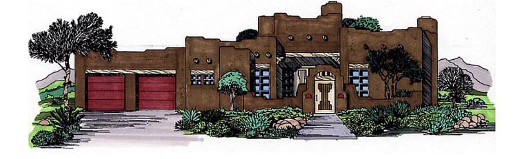 Santa Fe Southwest House Plan 54614 Elevation