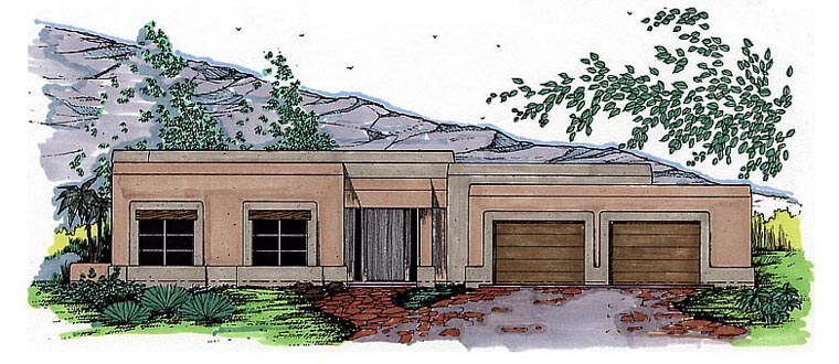 Santa Fe, Southwest House Plan 54615 with 3 Beds, 2 Baths, 2 Car Garage Front Elevation