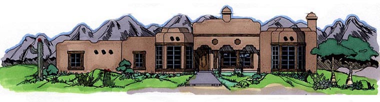 Southwest House Plan 54616 Elevation