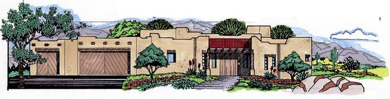 Santa Fe Southwest House Plan 54617 Elevation