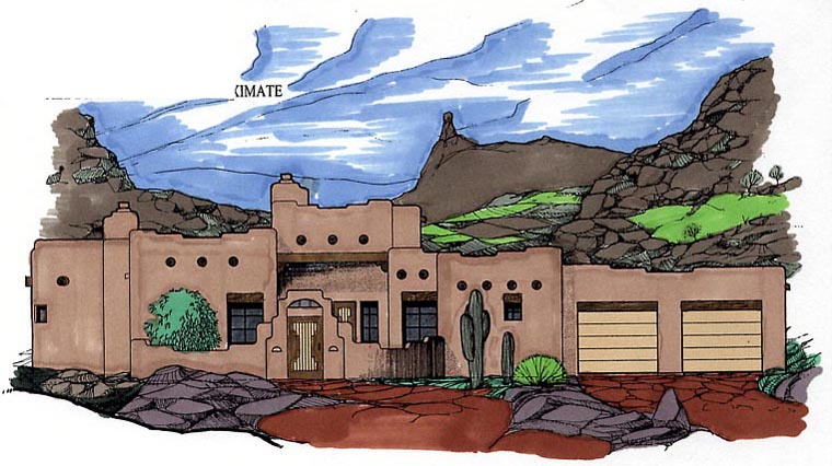 Santa Fe, Southwest House Plan 54618 with 3 Beds, 3 Baths, 2 Car Garage Elevation