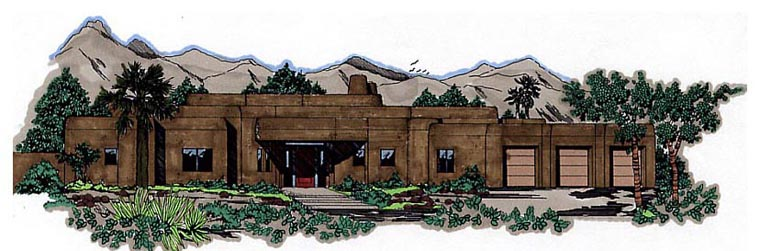 Santa Fe Southwest House Plan 54619 Elevation