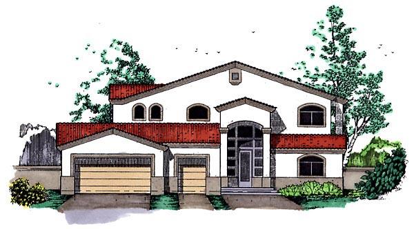 Southwest House Plan 54625 with 3 Beds, 2.5 Baths, 3 Car Garage Elevation