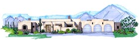 Santa Fe , Southwest House Plan 54626 with 3 Beds, 3 Baths, 3 Car Garage Elevation