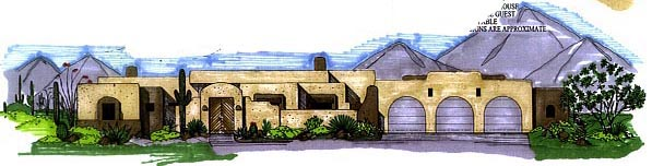 Santa Fe Southwest House Plan 54626 Elevation