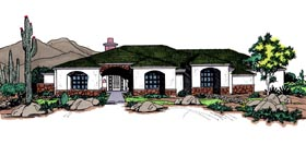 Prairie Style , Southwest House Plan 54627 with 3 Beds, 3 Baths, 3 Car Garage Elevation