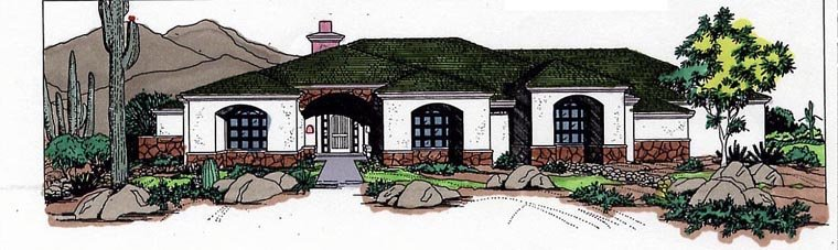 Prairie Style Southwest Elevation of Plan 54627