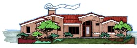 House Plan 54628 | Southwest Style Plan with 2664 Sq Ft, 3 Bedrooms, 2 Bathrooms, 2 Car Garage Elevation