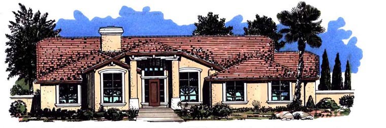 House Plan 54629 | Santa Fe Southwest Style Plan with 2685 Sq Ft, 4 Bedrooms, 3 Bathrooms, 3 Car Garage Elevation