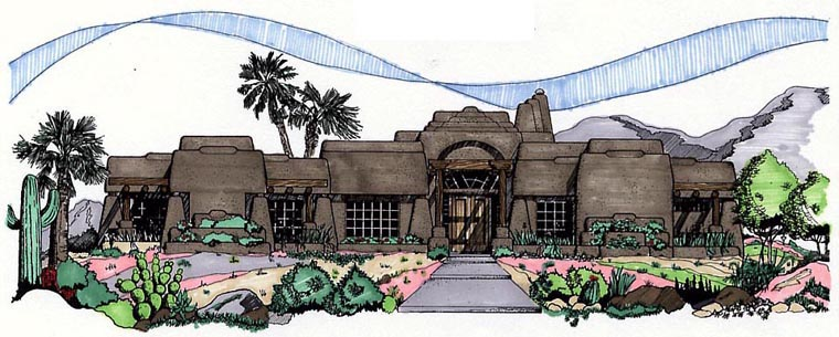 Santa Fe Southwest House Plan 54630 Elevation