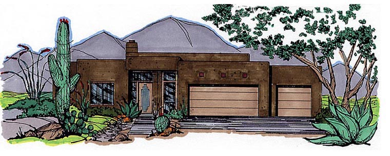 House Plan 54635 | Santa Fe Southwest Style Plan with 2844 Sq Ft, 3 Bedrooms, 2.5 Bathrooms, 3 Car Garage Elevation