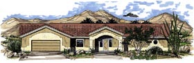 House Plan 54638 | Florida Style Plan with 2898 Sq Ft, 3 Bedrooms, 3 Bathrooms, 2 Car Garage Elevation