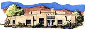 Santa Fe , Southwest House Plan 54640 with 3 Beds, 3 Baths, 3 Car Garage Elevation