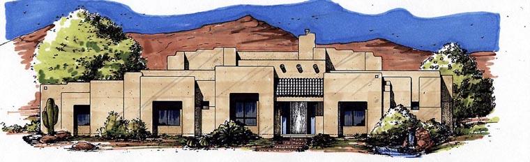 Santa Fe, Southwest House Plan 54640 with 3 Beds, 3 Baths, 3 Car Garage Elevation