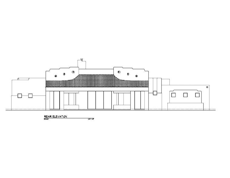 Santa Fe, Southwest House Plan 54640 with 3 Beds, 3 Baths, 3 Car Garage Rear Elevation