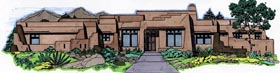 House Plan 54642 | Santa Fe Southwest Style Plan with 2993 Sq Ft, 4 Bedrooms, 3 Bathrooms, 3 Car Garage Elevation