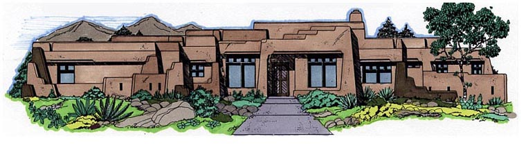 Santa Fe Southwest House Plan 54642 Elevation