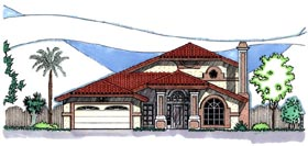 House Plan 54643 | Southwest Style Plan with 3035 Sq Ft, 3 Bedrooms, 2.5 Bathrooms, 2 Car Garage Elevation