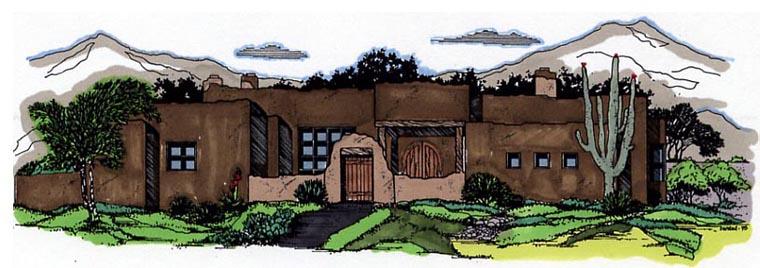 Santa Fe Southwest House Plan 54644 Elevation