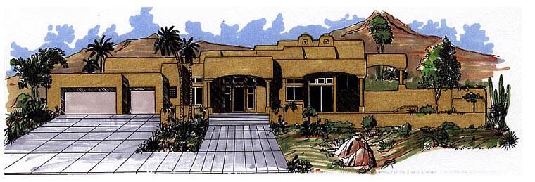 Santa Fe Southwest House Plan 54646 Elevation