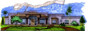 House Plan 54647 | Southwest Style Plan with 3103 Sq Ft, 3 Bedrooms, 3 Bathrooms, 3 Car Garage Elevation