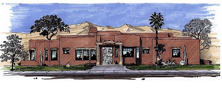 Santa Fe Southwest House Plan 54648 Elevation