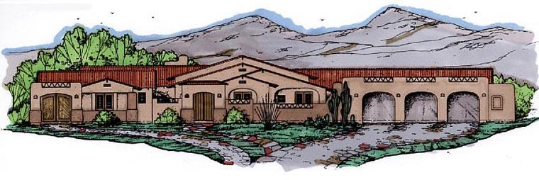 Santa Fe Southwest House Plan 54654 Elevation