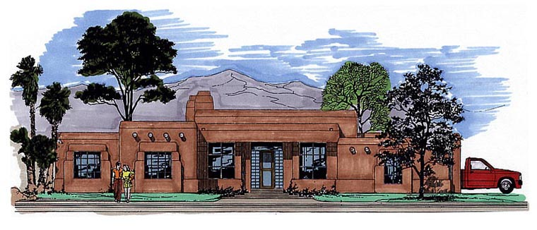 Santa Fe, Southwest House Plan 54655 with 4 Beds, 3 Baths, 3 Car Garage Elevation