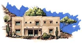 Santa Fe Southwest House Plan 54657 Elevation