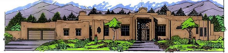 Southwest House Plan 54658 Elevation