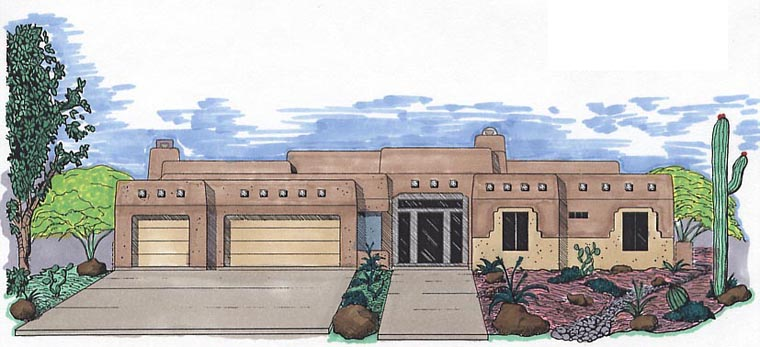 Santa Fe Southwest House Plan 54659 Elevation