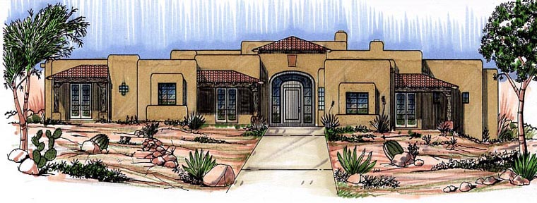 Santa Fe, Southwest House Plan 54662 with 3 Beds, 3 Baths, 2 Car Garage Elevation