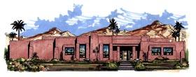 Santa Fe Southwest House Plan 54663 Elevation