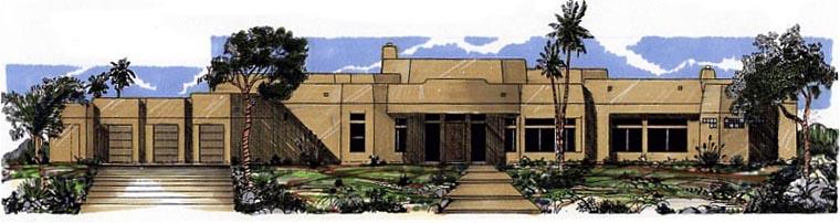 Santa Fe Southwest House Plan 54667 Elevation