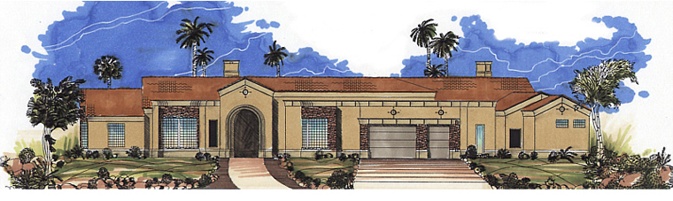 House Plan 54669 | Southwest Style Plan with 4732 Sq Ft, 3 Bedrooms, 4 Bathrooms, 3 Car Garage Elevation