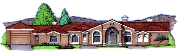 Southwest House Plan 54672 Elevation