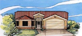 House Plan 54677 | Mediterranean Style Plan with 1687 Sq Ft, 3 Bedrooms, 2 Bathrooms, 2 Car Garage Elevation