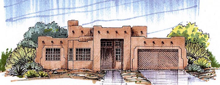 Santa Fe Southwest House Plan 54678 Elevation