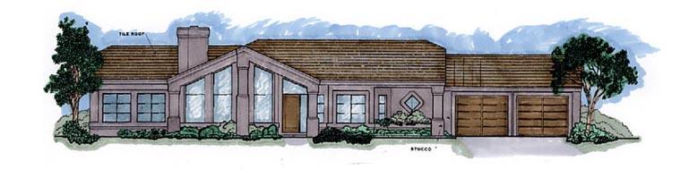 Contemporary Southwest House Plan 54679 Elevation