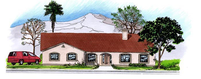 House Plan 54683 | Contemporary Southwest Style Plan with 2432 Sq Ft, 3 Bedrooms, 3 Bathrooms, 3 Car Garage Elevation