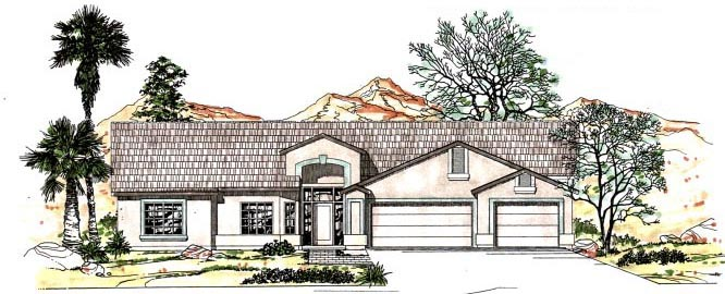 Contemporary, Southwest House Plan 54684 with 4 Beds, 3 Baths, 3 Car Garage Front Elevation