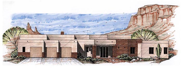Santa Fe Southwest House Plan 54687 Elevation