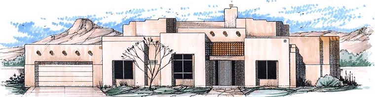 Contemporary Santa Fe Southwest House Plan 54690 Elevation